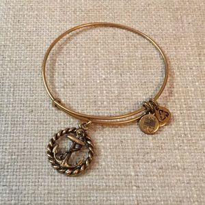 Gold Alex and Ani Anchor bracelet